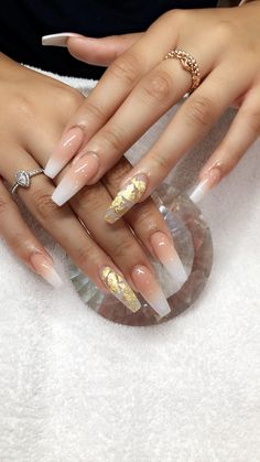 There are three kinds of fake nails which all come from the family of plastics. Acrylic nails are a liquid and powder mix. They are mixed in front of you and then they are brushed onto your nails and shaped. These nails are air dried. Aycrlic Nails, Prom Nails, Love Nails, Wedding Nails, S And S Nails, Nails With Gold, Wedding Acrylic Nails, Nail Nail, Hair And Nails