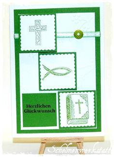 Glückwunschkarte Kommunion Konfirmation grün von Schelmenwerkstatt auf DaWanda.com