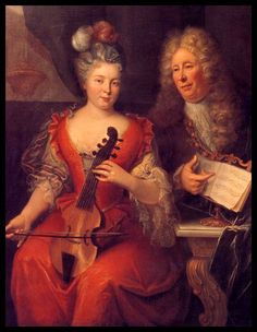 c1730-40, France. Portrait thought to be of Louis de Caix d'Hervelois (famous French viol player and composer) and his wife? Marie-Anne. @TheCipher.com