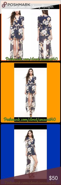 """Take me Away Floral Romper This take me away Floral Romper has an overlay that creates the illusion of a skirt. The romper has floral print all over, and a sexy closed back and v-neck front and tie front. The romper closes with an invisible zipper on side. Make this romper ultra sexy by adding some stilettos, a statement necklace and a bright colored clutch.    - 100% Polyester  - 58"""" total length - Fits true to size - Hand Wash Cold/long roll up sleeves with button tab closures Tea n Cup…"""