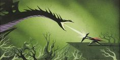 Eyvind Earle Sleeping Beauty Concept Art Philip fights the Dragon Maleficent