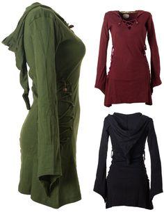 vishes Kleid warm Tunika Longsleeve Larp Zipfelkapuze Kapuzenkleid Hoody