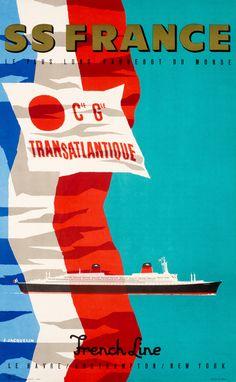 J. Jacquelin Poster: Cie Gle Transatlantique SS France Le Plus Long Paquebot du monde