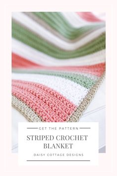 Quick and Easy Crochet Pattern - Easy Crochet Blanket with Texture - Daisy Cottage Designs - - Use this quick and easy crochet pattern to create a beautiful stripe crochet blanket. Make it in any size and give it as a wonderful crochet gift. Crochet Blanket Tutorial, Striped Crochet Blanket, Crochet Baby Blanket Free Pattern, Easy Crochet Blanket, Crochet Ripple, Afghan Crochet Patterns, Diy Crochet, Knitting Patterns, Crochet Blankets