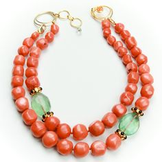 Bounkit Coral, Fluorite and Black Onyx Necklace