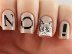 Tard the Grumpy Cat Nails. LOVE!!