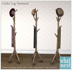 {what next} Cedar Log Hatstand for FLF
