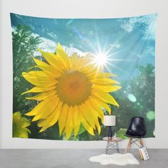 Sunflower. Vintage Wall Tapestry by Guido Montañés | Society6