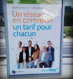 Nouvelle campagne tarifs de TAG - Transports Agglomération Grenobloise, visible dans les stations du réseau de transport en commun.  Une réalisation de l'agence Mardi. Année 2017