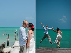 Bride and groom jumping into the ocean. Amy + Kyle - Jeremy Gilliam