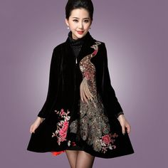 XL-6X 2016 Spring New Cloak Phoenix Peacock Embroidery Print Trench Coat For Women Turtleneck Zipper Plus Size Black Coats ZA186