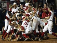 Love it - Alabama celebrates after defeating Oklahoma to win the NCAA Women's College World Series