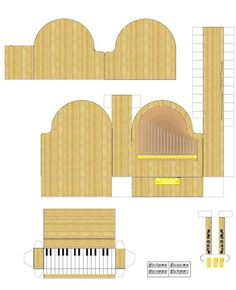 The perfect guide for making a paper grand piano! The actual document was no longer available, but this can work as a guide for those who go the DIY route Paper Furniture, Doll Furniture, Dollhouse Furniture, Piano Crafts, Music Crafts, 3d Paper, Paper Toys, Paper Crafts, Paper Doll House