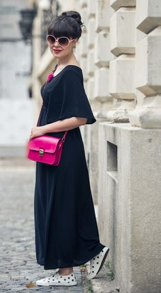 Fuchsia pops and a maxi black dress