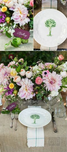Luxurious garden wedding table setting. Photo Credit: Shawn Connell for Christian Oth Studio