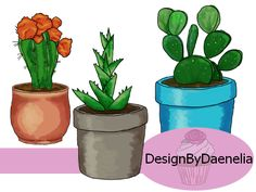 Look at all the cute cactus… es. Five images of different types of cactuses in various pots. Great for printing out for card making or to embellish a planner. This hand drawn clip art set is a digital download available at Design by Daenelia, my Etsy shop. This cactus set contains multiple images of cactus …