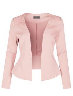 Long Sleeve Fully Lined Collarless Tuxedo Blazer Jacket Blazer Jackets For Women, Blazers For Women, Women Blazer, Ladies Blazers, Blazer Fashion, Blazer Outfits, Blazer Dress, Dress Outfits, Dresses