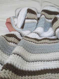 Modern Stripe Baby Blanket for Boy Ready to by HunkyDoriBoutique