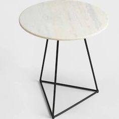 White Marble and Metal Round Accent Table For Small Spaces