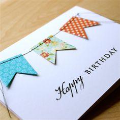 Stitched Banner Birthday Card Handmade Birthday by theapplecrate, $3.75
