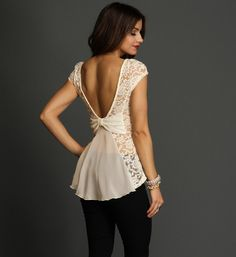 White Lace Peplum Top at WindsorStore