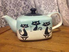 Huesnbrews Square Cat Kitty Tea Pot Teapot Aqua and Tan Black Cats   eBay