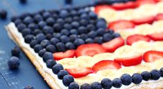 Fruit Flag Pizza      1  Pillsbury Crescent Seamless Dough Sheet      2 cartons (about 8 oz. total) Yoplait Coconut Greek Yogurt      3 cups blueberries        3  bananas      1 pound strawberries      powdered sugar (for dusting, if desired)