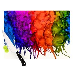 "Claire Day ""Rainbow Splatter"" Cutting Board"