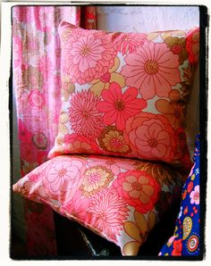 Handmade cushions from original 1970's 'St Michael' fabric.