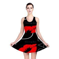 Funny Black White Red Reversible Skater Dress