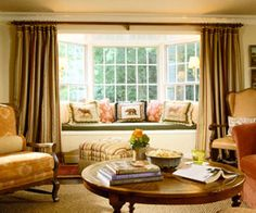 Bay Window Draperies ceiling rod with built-in