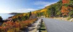 Attractions in Maine in Fall | Autumn foliage along the Park Loop Road in Acadia National Park, Mt ...