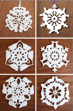 Incredible animal snowflakes - look closely at these snowflakes...each has an animal cutout along the outer edge! No template - so be inspired to maybe create your own!