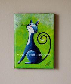 """Peinture originale à vendre : Fantasy Cat """"curieux chat en bleu profond"""", acrylique"""