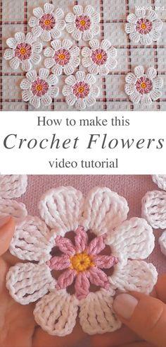 Learn Making Lace Crochet Flower Easily - Knitting and Crochet Crochet Design, Crochet Motifs, Crochet Stitches, Crochet Patterns, Doilies Crochet, Crochet Crafts, Crochet Projects, Crochet Simple, Confection Au Crochet