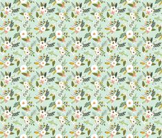 sprigs and blooms // mint fabric by ivieclothco on Spoonflower - custom fabric