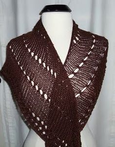 A beginner's easy knit shawl that can be knit with any yarn and made to any size by altering the gauge.  Free pattern from allfreeknitting.com