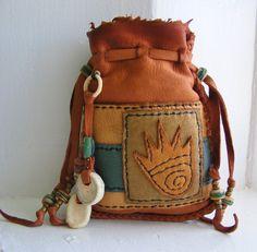 BEAR PAW deerskin Leather Medicine Bag, spirit pouch, talisman, Deer Antler, antique trade beads, shaman medicine man