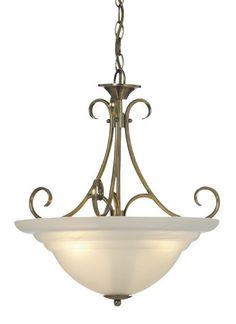 Beacon Lighting - Cheri 3 light bowl pendant in antique brass with alabaster glass