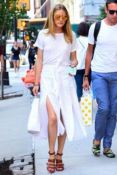 Olivia Palermo wearing Adornmonde Tran Pink Leather Choker Lariat, Fendi Mirrored Sunglasses, Drifter Cavil Relaxed Fit Tee and Tularosa Poppy Eyelet Skirt