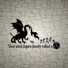 Dungeons and Dragons Your Stick Figure Family rolled a 1 / D20 vinyl  Dragon decal / RPG / vinyl sti Stick Figure Family, Stick Family, Dnd Funny, D&d Dungeons And Dragons, Thing 1, Stick Figures, Nerdy, Vinyl Decals, Geek Stuff