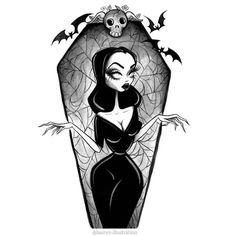 "Listing is 1 ""VAMPIRA"" art print!   ""And life continues to be fascinating..."" - Maila Nurmi    Vampira has always been one of my favorite spooky gals! That tiny waist and biting dark wit have always been most memorable! She was a powerful, other worldly, feminine goddess...The original goth bad girl!     * All art prin Tim Burton Kunst, Tim Burton Art, Tim Burton Drawings, Arte Horror, Horror Art, Horror Drawing, Dark Fantasy, Fantasy Art, Desenhos Tim Burton"