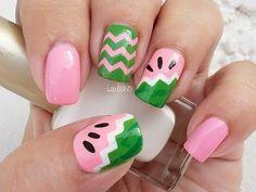 Nail Art - Fruit Series Watermelon Nails - Decoracion de Uñas - - Linda165 - YouTube
