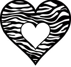 Red Daisy, Zebra Print, Love Heart, Tribal Tattoos, Coloring Pages, Journaling, Hearts, Clip Art, Black And White