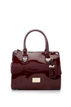 Burgundy Juno Patent Shoulder Bag