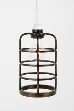 Metal cage pendants $39. Maybe for the basement bar (?) - 2 or 3 mounted to a piece of wood.
