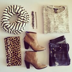 neutral ankle boots, leopard clutch, striped scarf, casual
