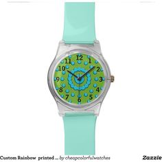 Custom Rainbow printed designer wrist watch ($60) ❤ liked on Polyvore featuring jewelry, watches and rainbow jewelry