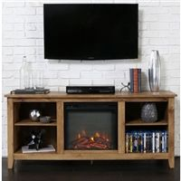 Matterhorn TV Stand with Electric Fireplace Caribbean Mahogany 60 ...