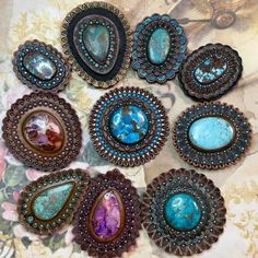 """Anna on Instagram: """"Another bunch of #conchos is almost ready 🥰 Hurray! ☺️ #concho #chrysocolla #turquoise #customleather #tooledleather #gem #gemstone…"""" Tooled Leather, Leather Tooling, Almost Ready, Leather Projects, Custom Leather, Turquoise Necklace, Anna, Gemstones, Rings"""